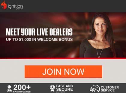 Ignition Live Dealer page