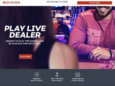 Bovada Live Dealer page