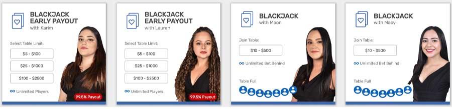 CA live dealer blackjack